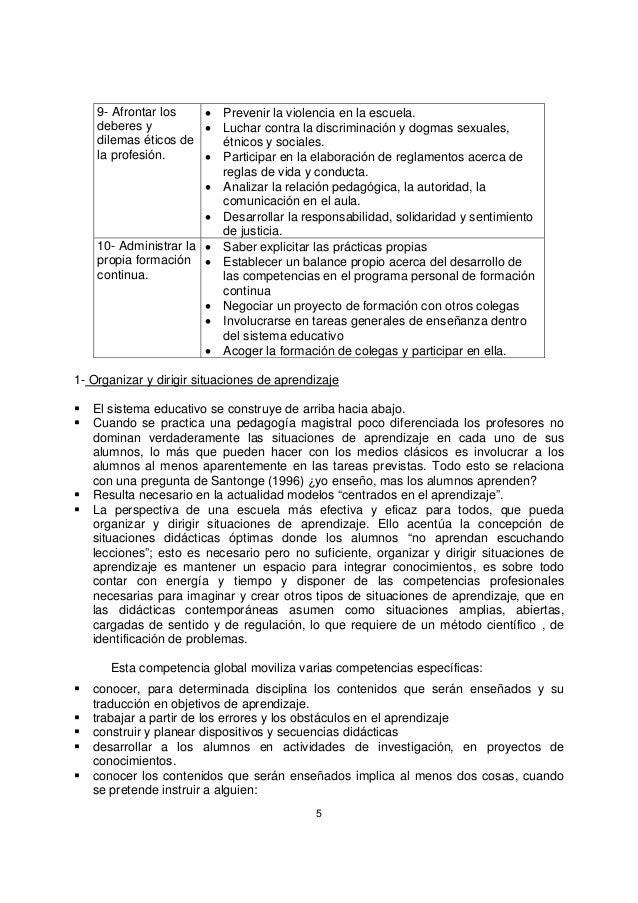 5 9- Afrontar los deberes y dilemas éticos de la profesión. • Prevenir la violencia en la escuela. • Luchar contra la disc...