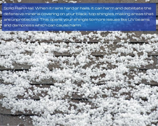 Solid Rain/Hail. When it rains hard or hails, it can harm and debilitate the defensive mineral covering on your black-top ...