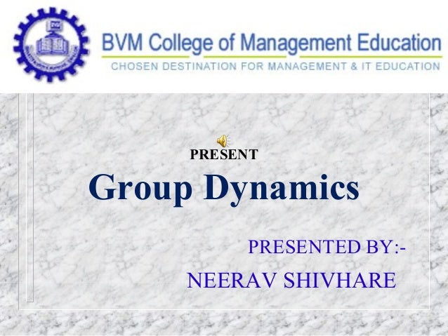 PRESENT Group Dynamics PRESENTED BY:- NEERAV SHIVHARE