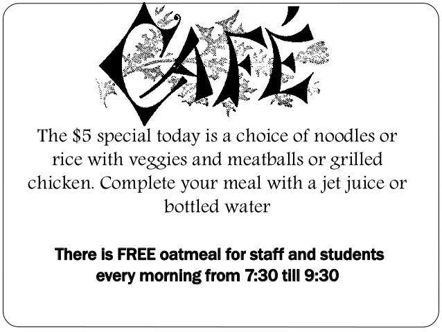 The $5 special today is a choice of noodles or rice with veggies and meatballs or grilled chicken. Complete your meal with...