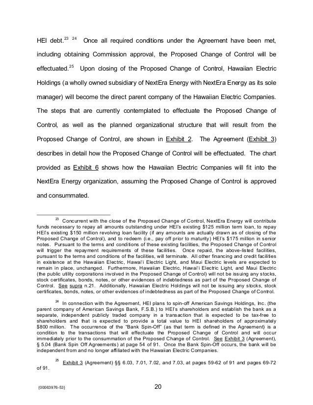 1 Of 2 Application For Approval Of The Proposed Change Of Control A