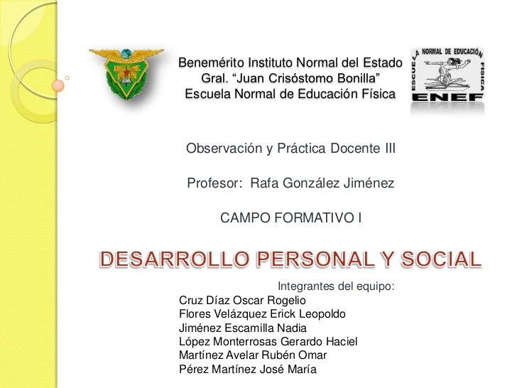 """Benemérito Instituto Normal del Estado    Gral. """"Juan Crisóstomo Bonilla""""  Escuela Normal de Educación Física     Observac..."""