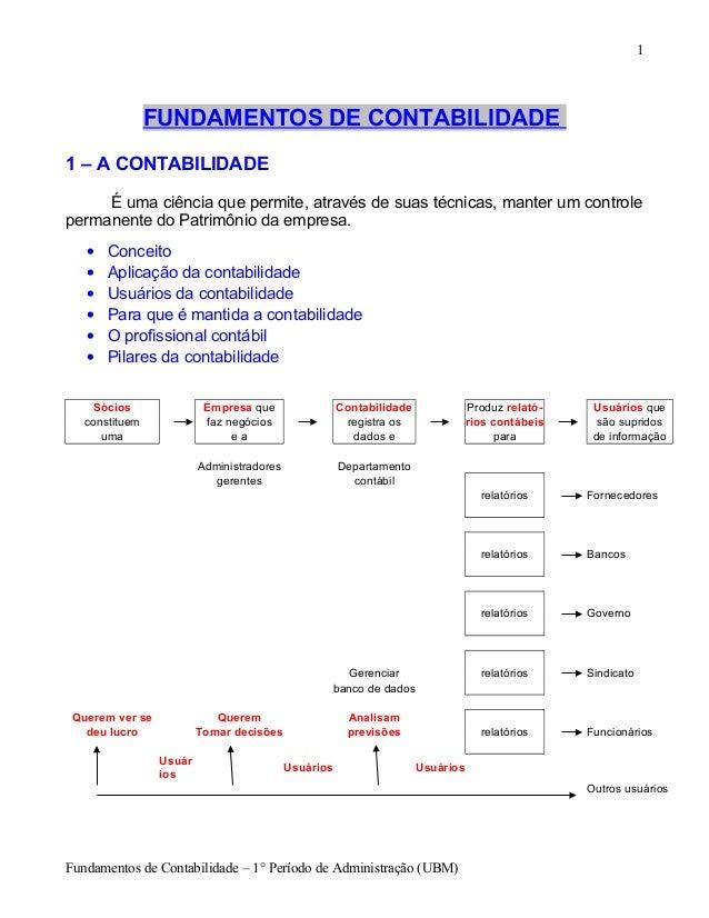 FUNDAMENTOS DE CONTABILIDADE  1 – A CONTABILIDADE  É uma ciência que permite, através de suas técnicas, manter um controle...