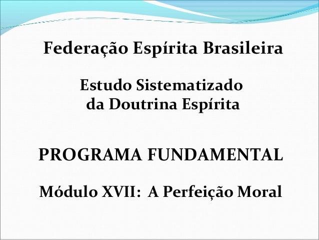 Federação Espírita Brasileira  Estudo Sistematizado  da Doutrina Espírita  PROGRAMA FUNDAMENTAL  Módulo XVII: A Perfeição ...