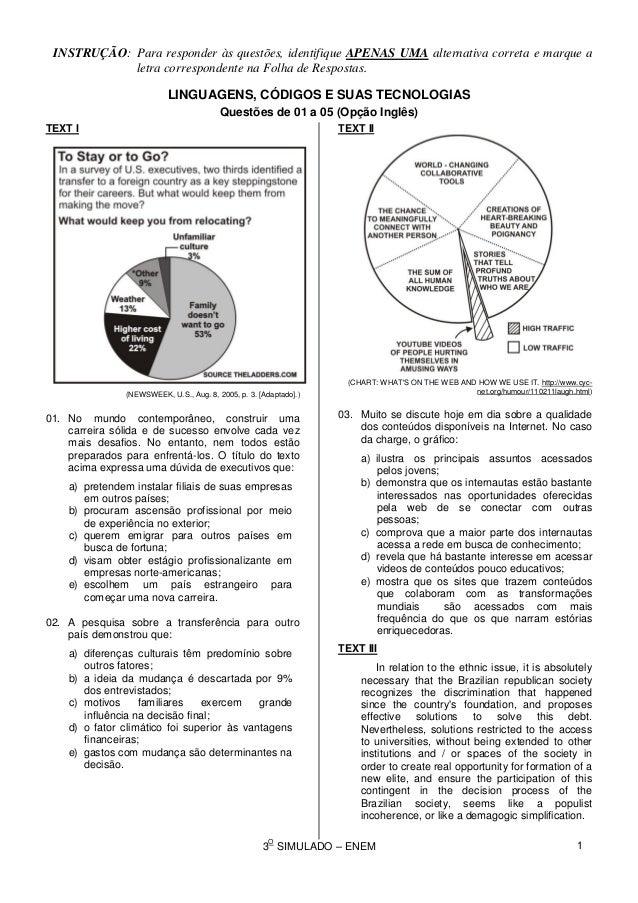 08c70a9ad 3 O SIMULADO – ENEM INSTRUÇÃO: Para responder às questões, identifique  APENAS UMA alternativa ...