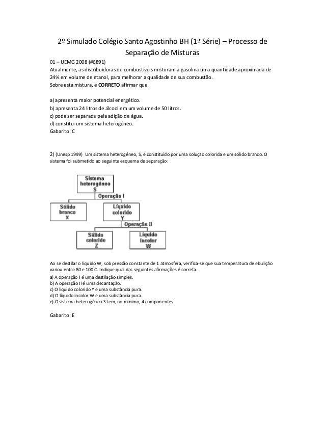 2º Simulado Colégio Santo Agostinho BH (1ª Série) – Processo de Separação de Misturas 01 – UEMG 2008 (#6891) Atualmente, a...