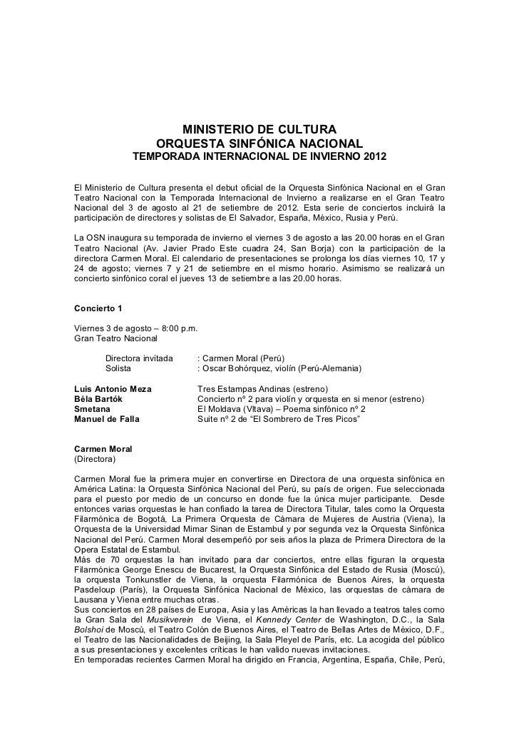 MINISTERIO DE CULTURA                     ORQUESTA SINFÓNICA NACIONAL               TEMPORADA INTERNACIONAL DE INVIERNO 20...