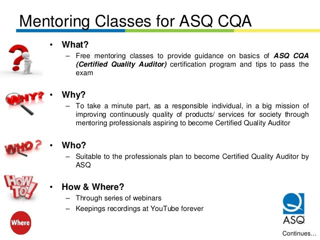 Overview of ASQ Certified Quality Auditor (CQA)