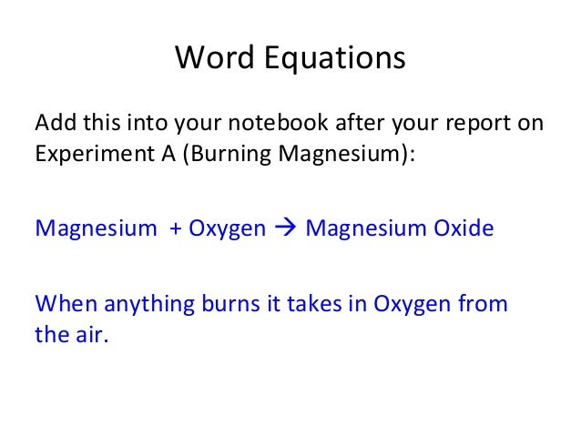 Magnesium Oxide Experiment : P chemical changes