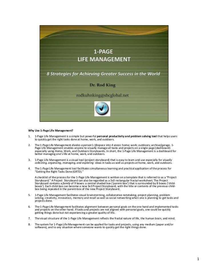 WhyUse1‐PageLife Management? 1.   1‐PageLifeManagementisasimplebutpowerfulpersonalproductivityandproblemsol...