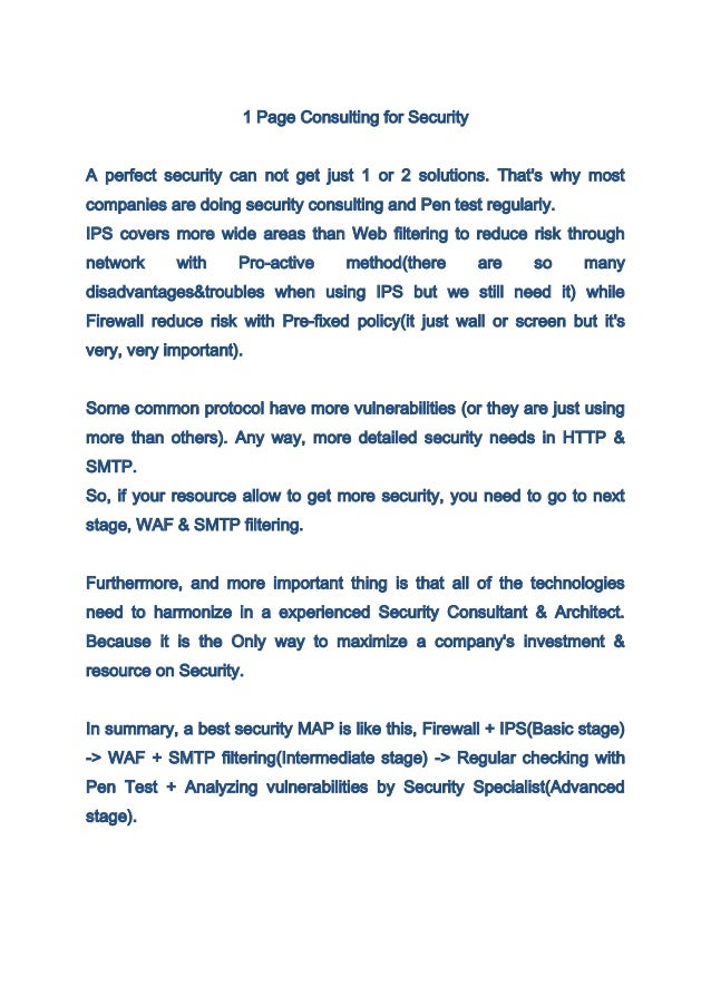 1 page consulting for security