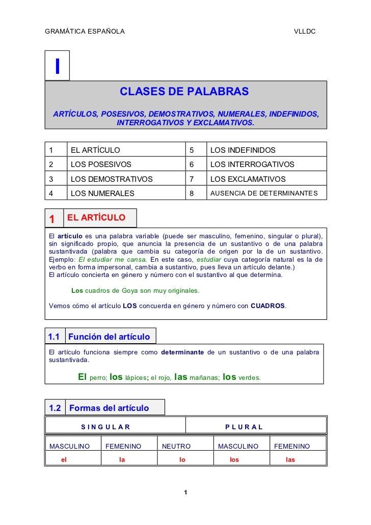 GRAMÁTICA ESPAÑOLA                                                            VLLDC    I                           CLASES ...