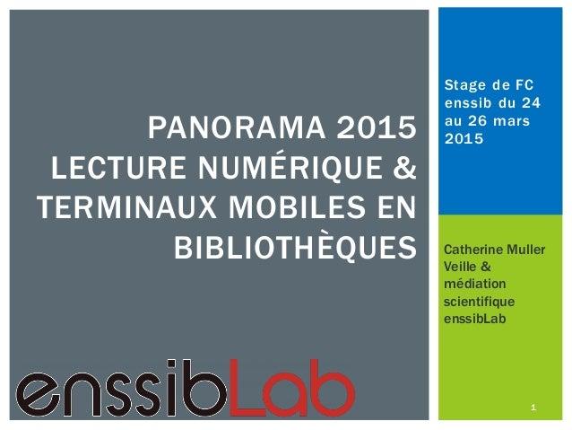 Stage de FC enssib du 24 au 26 mars 2015PANORAMA 2015 LECTURE NUMÉRIQUE & TERMINAUX MOBILES EN BIBLIOTHÈQUES Catherine Mul...