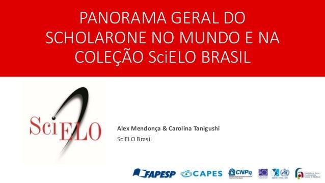 PANORAMA GERAL DO SCHOLARONE NO MUNDO E NA COLEÇÃO SciELO BRASIL Alex Mendonça & Carolina Tanigushi SciELO Brasil
