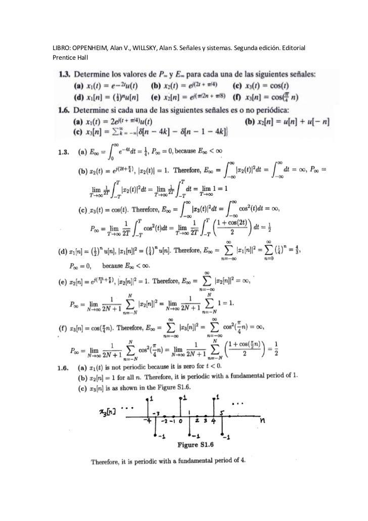 LIBRO: OPPENHEIM, Alan V., WILLSKY, Alan S. Señales y sistemas. Segunda edición. EditorialPrentice Hall
