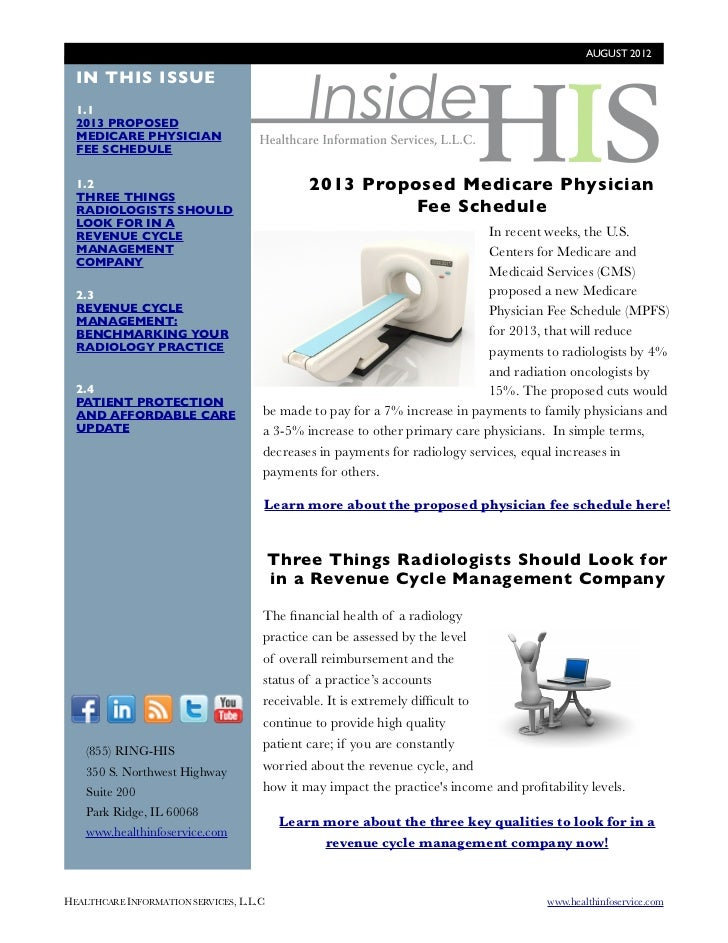 AUGUST 2012                                               Inside  IN THIS ISSUE  1.1  2013 PROPOSED  MEDICARE PHYSICIAN  F...