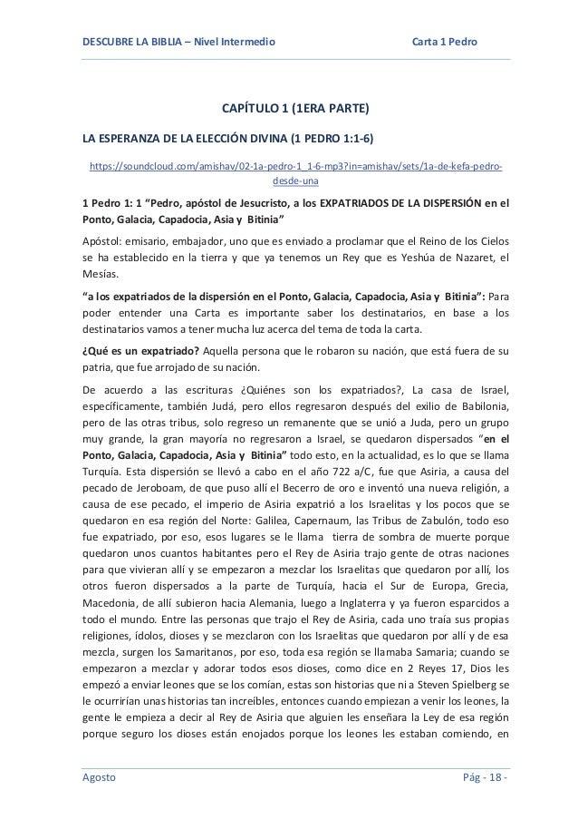DESCUBRE LA BIBLIA – Nivel Intermedio  Carta 1 Pedro  CAPÍTULO 1 (1ERA PARTE) LA ESPERANZA DE LA ELECCIÓN DIVINA (1 PEDRO ...
