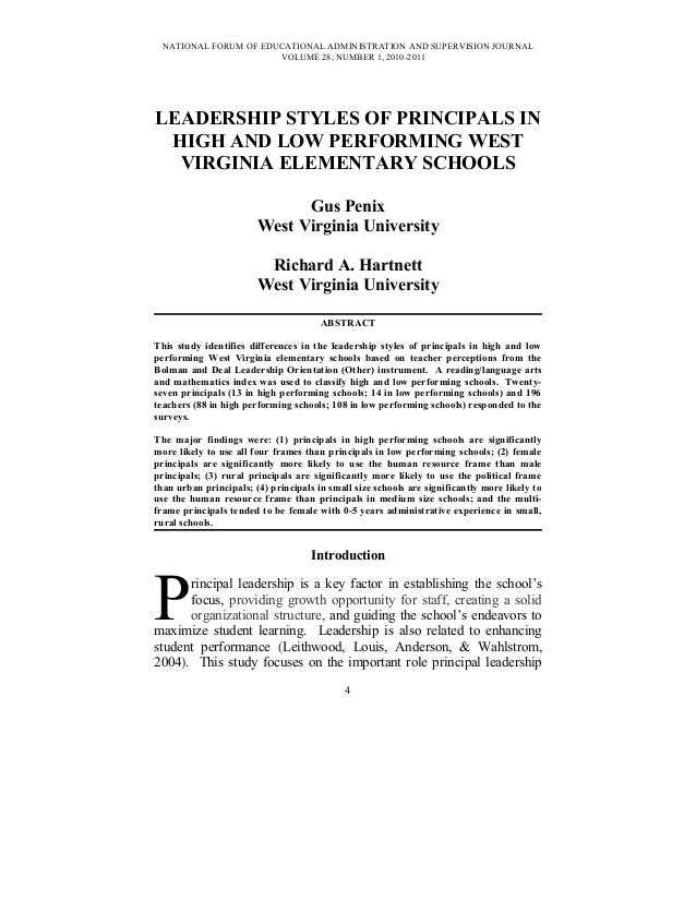 NATIONAL FORUM OF EDUCATIONAL ADMINISTRATION AND SUPERVISION JOURNAL VOLUME 28, NUMBER 1, 2010-2011 LEADERSHIP STYLES OF P...