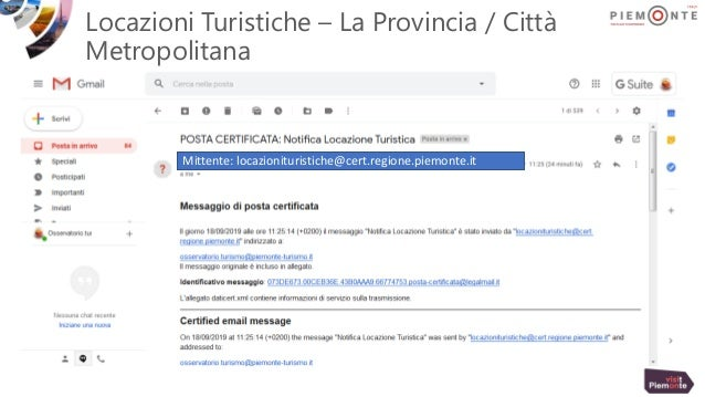 Locazioni Turistiche – La Provincia / Città Metropolitana Mittente: locazionituristiche@cert.regione.piemonte.it