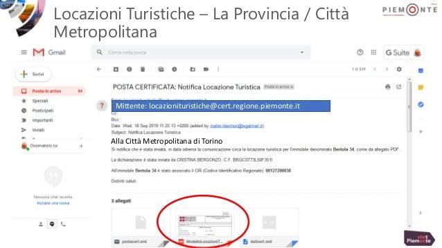 Locazioni Turistiche – La Provincia / Città Metropolitana Mittente: locazionituristiche@cert.regione.piemonte.it Alla Citt...
