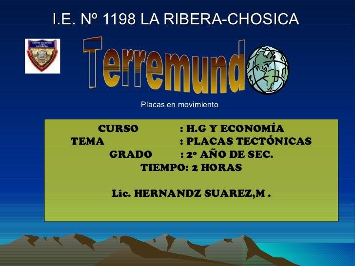 I.E. Nº 1198 LA RIBERA-CHOSICA  CURSO    : H.G Y ECONOMÍA TEMA  : PLACAS TECTÓNICAS GRADO : 2º AÑO DE SEC. TIEMPO: 2 HORAS...