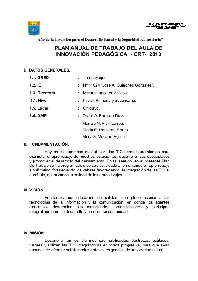 """""""Año de la Inversión para el Desarrollo Rural y la Seguridad Alimentaria"""" PLAN ANUAL DE TRABAJO DEL AULA DE INNOVACIÓN PED..."""
