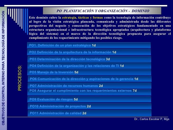 PO PLANIFICACIÓN Y ORGANIZACIÓN - DOMINIO            Este dominio cubre la estrategia, tácticas y formas como la tecnologí...