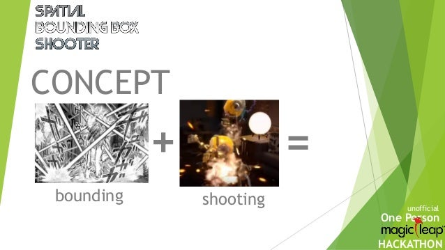 One Person HACKATHON CONCEPT bounding shooting + = unofficial