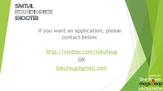 One Person HACKATHON If you want an application, please contact below. unofficial http://twitter.com/tokufxug OR tokufxug@...