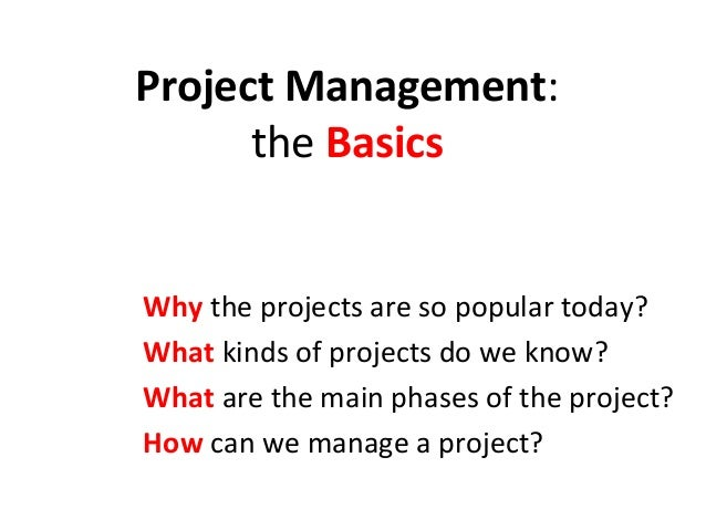 Project Management:      the BasicsWhy the projects are so popular today?What kinds of projects do we know?What are the ma...