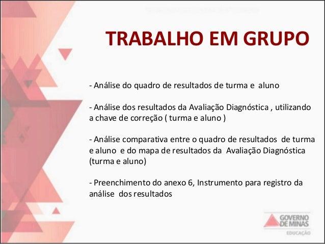 TRABALHO EM GRUPO -Análisedoquadroderesultadosdeturmaealuno -AnálisedosresultadosdaAvaliaçãoDiagnóstica,...