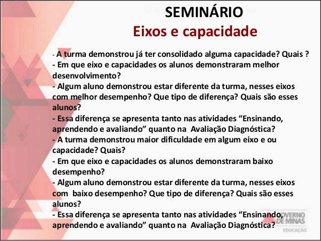 SEMINÁRIO Eixos e capacidade - A turma demonstrou já ter consolidado alguma capacidade? Quais ?  - Em que eixo e capacidad...