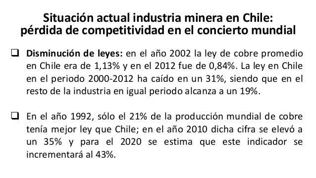Situación actual industria minera en Chile: pérdida de competitividad en el concierto mundial  Chile ha perdido competiti...