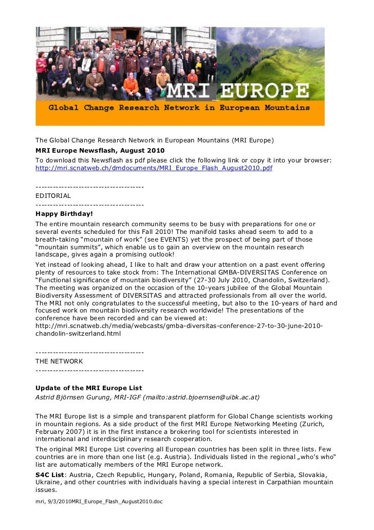 The Global Change Research Network in European Mountains (MRI Europe)MRI Europe Newsflash, August 2010To download this New...