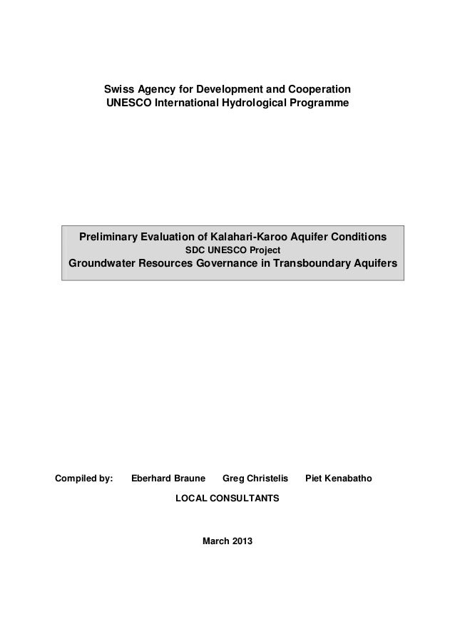 Swiss Agency for Development and Cooperation UNESCO International Hydrological Programme  Preliminary Evaluation of Kalaha...
