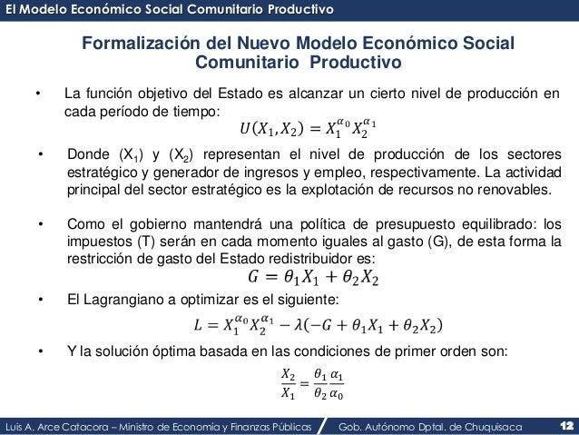 El Modelo Económico Social Comunitario Productivo  Formalización del Nuevo Modelo Económico Social  Comunitario Productivo...