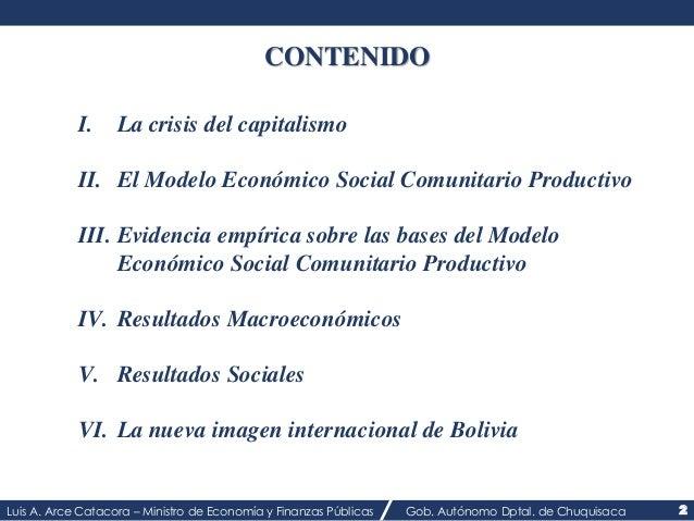 CONTENIDO  I. La crisis del capitalismo  II. El Modelo Económico Social Comunitario Productivo  III. Evidencia empírica so...