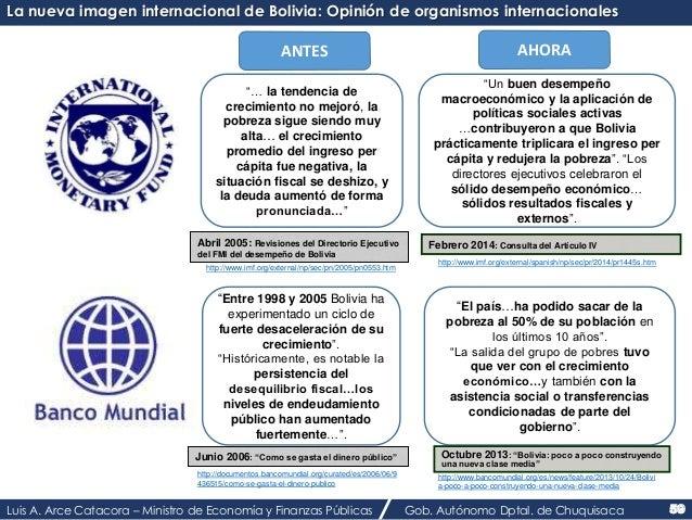 """La nueva imagen internacional de Bolivia: Opinión de organismos internacionales  ANTES AHORA  """"… la tendencia de  crecimie..."""