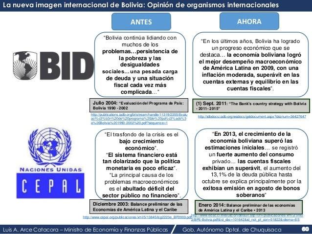 """La nueva imagen internacional de Bolivia: Opinión de organismos internacionales  ANTES AHORA  """"Bolivia continúa lidiando c..."""