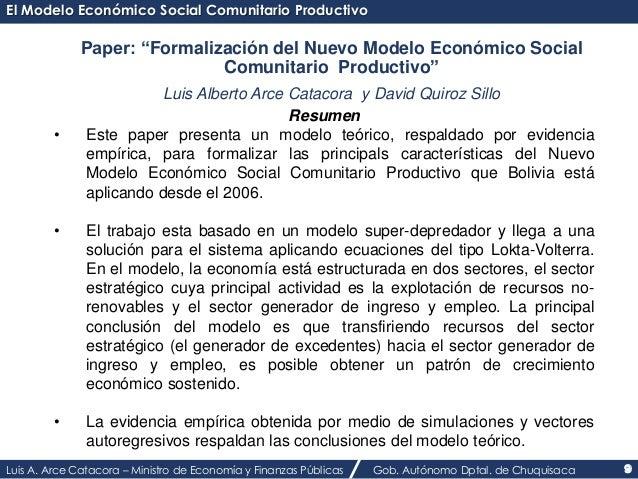 """El Modelo Económico Social Comunitario Productivo  Paper: """"Formalización del Nuevo Modelo Económico Social  Comunitario Pr..."""