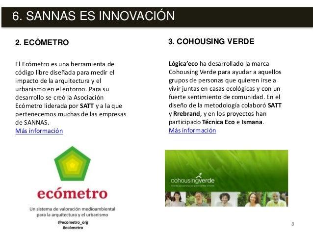 6. SANNAS ES INNOVACIÓN 8 El Ecómetro es una herramienta de código libre diseñada para medir el impacto de la arquitectura...