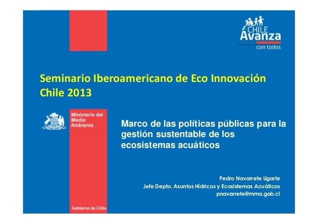 Seminario Iberoamericano de Eco Innovación Chile 2013 Pedro Navarrete Ugarte Jefe Depto. Asuntos Hídricos y Ecosistemas Ac...