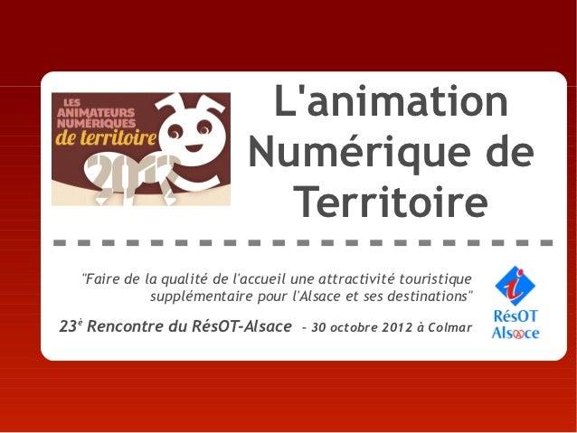 """Lanimation                             Numérique de                               Territoire   """"Faire de la qualité de lac..."""