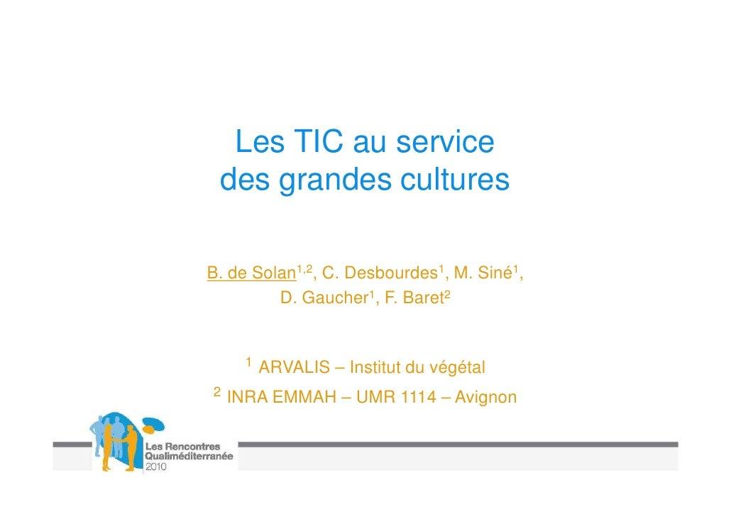 Les TIC au service des grandes cultures
