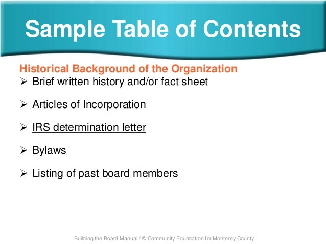 board manual table of contents