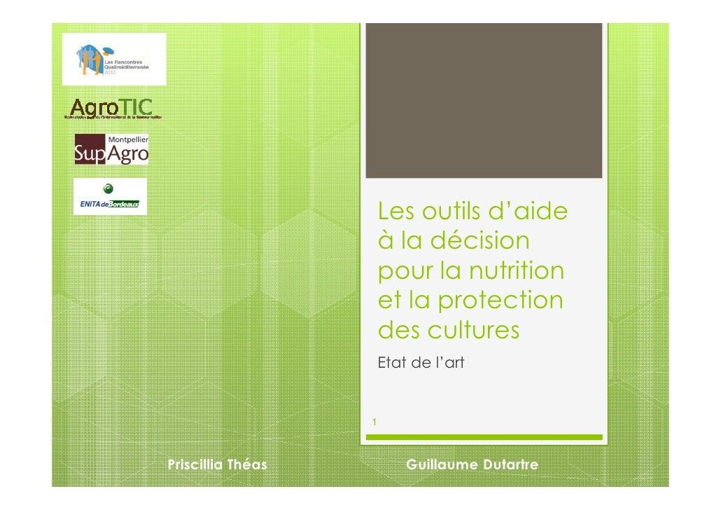 Les outils d'aide                   à la décision                   pour la nutrition                   et la protection  ...