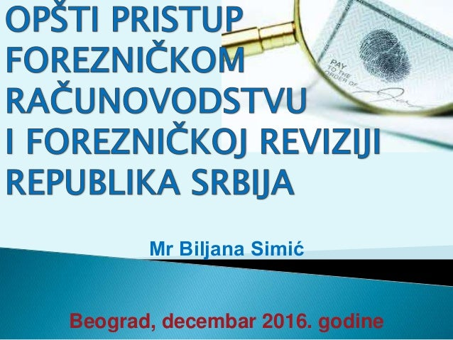 Mr Biljana Simić Beograd, decembar 2016. godine