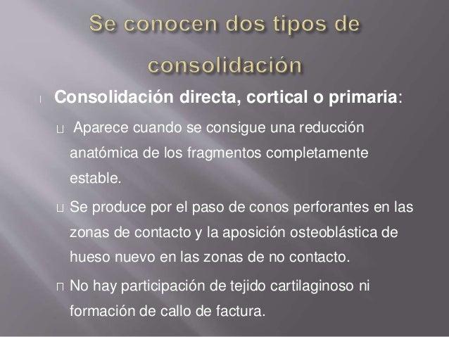 Consolidación indirecta o secundaria: En aquellas fracturas menos estables, con movilidad interfragmentaria o no estabiliz...