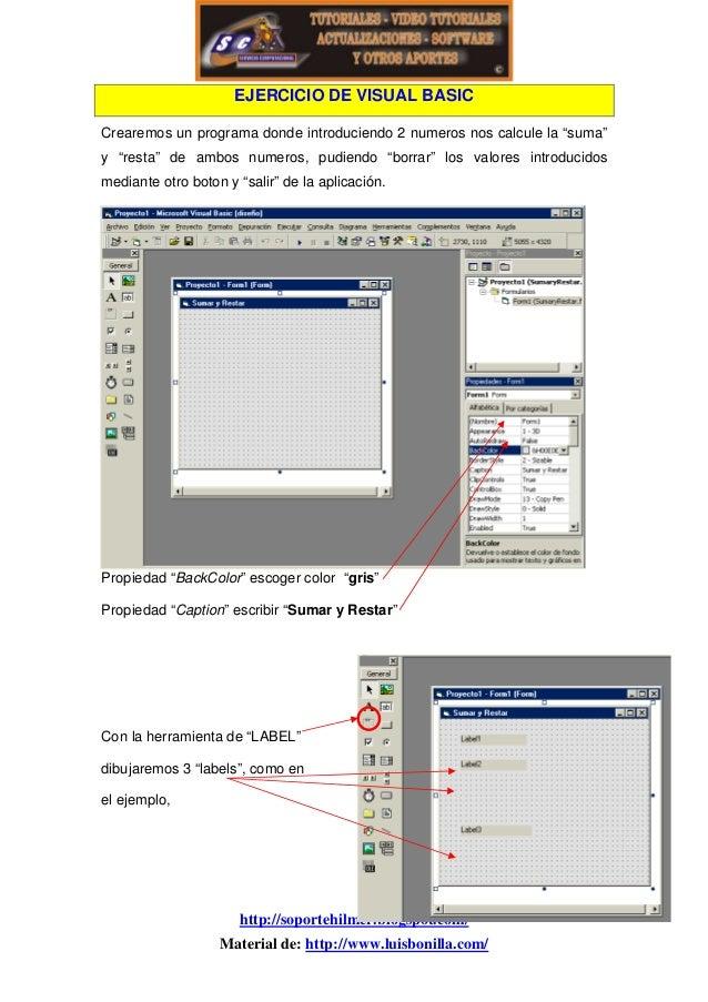 """EJERCICIO DE VISUAL BASIC Crearemos un programa donde introduciendo 2 numeros nos calcule la """"suma"""" y """"resta"""" de ambos num..."""