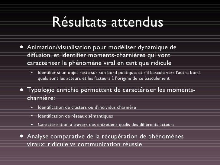 Résultats attendus <ul><li>Animation/visualisation pour modéliser dynamique de diffusion, et identifier moments-charnières...